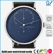 PVD Silver blue dial automatic watch stainless steel case watch with genuine leather strap watch