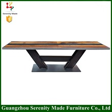 Modern design new cener wooden table top with cast iron table base