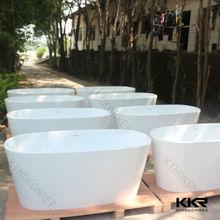 freestanding acrylic solid surface bathtub , Luxury pedestal bathtub price