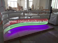 Custom sized led lighted acrylic solid surface bar counter