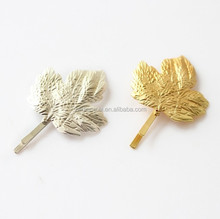 Fashion girl hair clips gold leaves hairpin for hair accessories