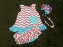 2015 baby girls hot pink chevron lt blue heart swing top set swing outfits with matching necklace and headband set