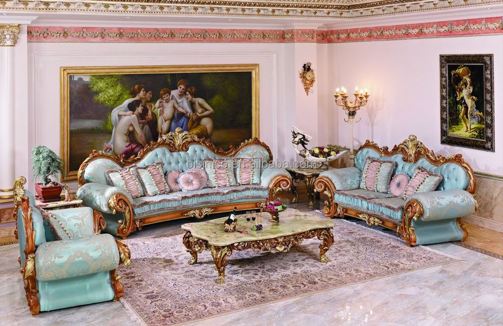 Luxury French Baroque Style Living Room Blue Sofa Set Fancy Palace Style Wood