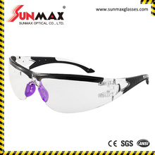 clear color safety glasses, rubber coated legs safety glasses, workplace eyeglasses with low price