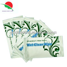 Individually wrapped cleaning wet towel wipes for hotel restaurant use