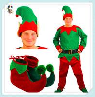 Cheap Felt Christmas Party Santa Helper Mens Elf Costumes HPC-2441