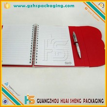 Red PVC cover notebook,handmade wire-o bound notebook with band for offcie and school supplies products