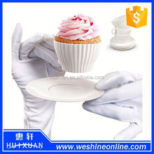 Nice design teacup silicone cupcake mold with saucer set of 4