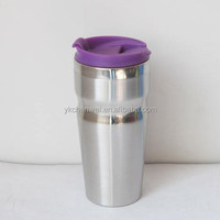 double-wall insulated stainless steel coffee mug with flip mouth lid