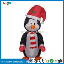 Indoor penguin shaped inflatable santa christmas inflatable decor