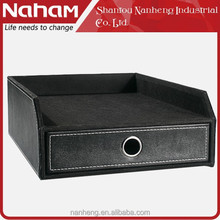 NAHAM new elegant Office Desktop PVC Leather File Tray with Drawer