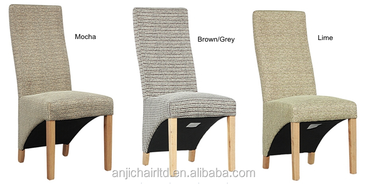 Top supplier wood dining chair fabric cover high chair for High back fabric dining room chairs