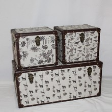 Home Artistic Fashion Animal And Flowers Printing Canvas Storage Box,Wooden Trunk