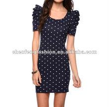 CHEFON Puff Shoulder Polka Dot Dress CF0101