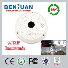 5.0 Megapixels 2592*1920 resolution 360 Degrees Panoramic IP Camera with Audio, Microphone,SD card,free dewarp software