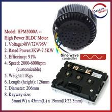 brushless DC motor for electric car, electric motorcycle BLDC motor 48V/72V 5000W