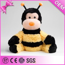 Factory wholesale fluffy soft plush bumble bee, plush toy bee stuffed animal