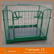metal wire mesh cage with green paint