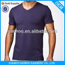 Men Bulk V-Neck Custom T-Shirt Printing Wholesale Cheap Plain Fashion Style