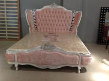 Pink velvet solid wood princess girl bed