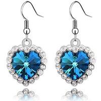 heart-shaped eardrop with swarovski crystal jewelry earrings