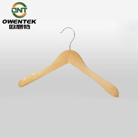 Natural finish tank top wood clothes hanger, commercial branded garment rack
