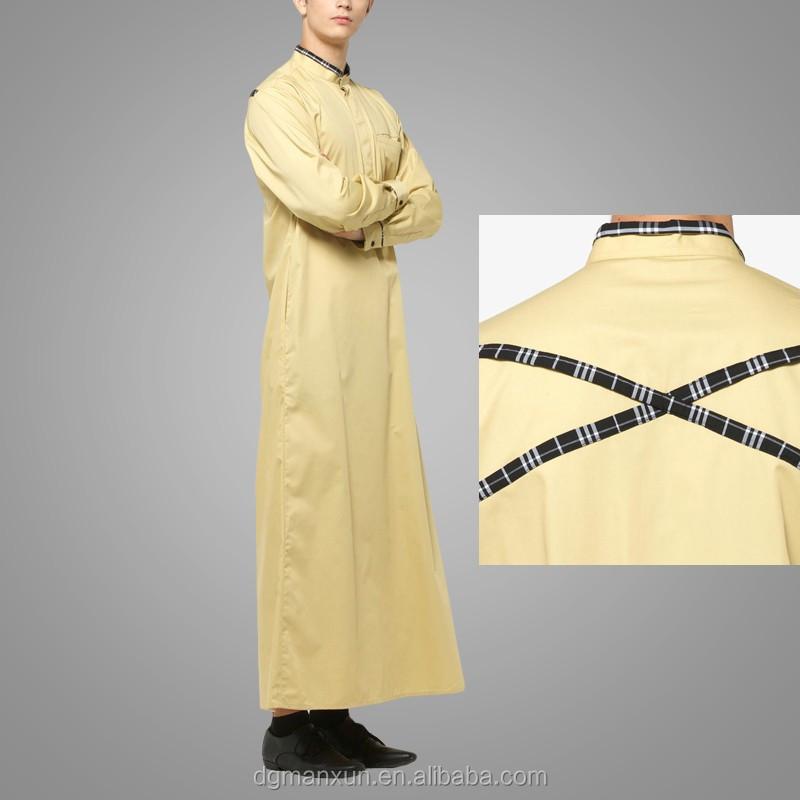 Mens Thobe Islamic Clothing with  X Series Light Gold Men Abaya (5).jpg
