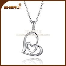 Moda jóias de prata esterlina dois corações colar, a namorada do coração pingente colar, de cobre coração pingente colar