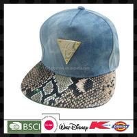 Denim 5-panel metal decorated printed visor hip hop flat caps