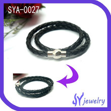 2015 Creditable Double Wrap Stainelss Steel Magnetic Clasp Leather Bracelets For Unisex