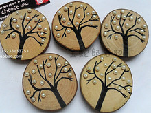 M012 hot stampling or laser engraving wood engraved photo insert coasters