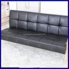 IKEA modern design ASH wood frame pu black leather cover three sets sofa with low prices