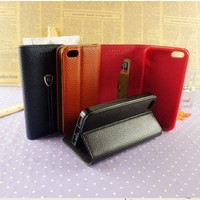 New design customized brand PU leather phone case wallet strong magnet leather case for iphone 4 4s 5 5s 6 6 plus wholesale