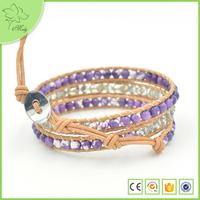 Retro Alloy Skull Charm Purple Jade Bead Weaved Bracelet for Lady