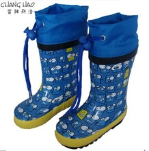 Rubber Rain Boot Manufacturer,Bule Ground Has Expression Printing With Bule Oxford Antiskid Boot For Children