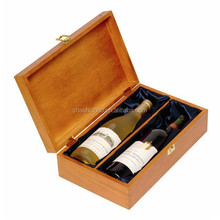 Luxury wood folding wine carry box carrier for double bottle