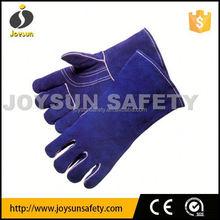 "welding glove, blue shoulder split, full sock lined 14"" leather welding gloves"