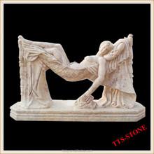 Sleeping girl marble statue