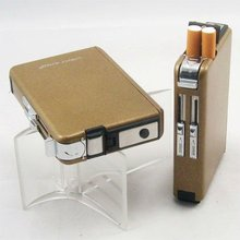 2010 fashion automatic Stainless Steel Cigarette Case with lighter for promotional gift