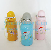 Full Color Stainless Steel Kids Water Bottle w/ tethered cap & built-in spout - 14 oz