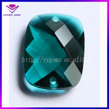 china rectangle blue faceted glass gems with hole factory price