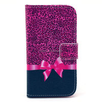 PU Leather Wallet Stand Case Cover for Motorola Moto X Bowknot design