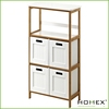 4 Tier Bamboo Bathroom Storage Shelf With 4 Drawer/Homex_BSCI
