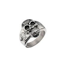 Men's 316L Stainless Steel Flower Skull Ring Gothic Biker Classic