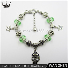 Green glass bead skull charm new products