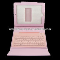 For iPad 3 Folded Wireless Bluetooth Keyboard Leather Case Pink