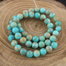 SM3003 Most Popular Natural light blue imperial jasper round beads