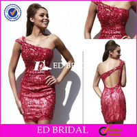 W1605 Hot Sale One Shoulder Lace Pattern Red Bling Bling Cocktail Dress