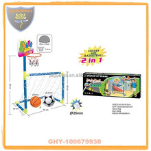 2 in 1 soccer goal with basketball board and inflatable ball for Christmas gift