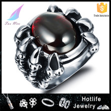 fashionable trend claw stainless steel jewelry cubic zirconia zircon ring for men